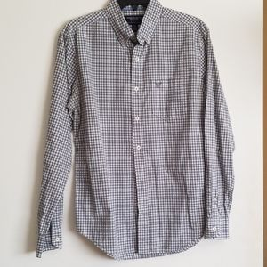 American Eagle Gray and White Checked Button Down